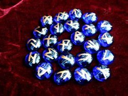 Cobalt Blue Glass Rune Stone Set