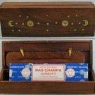 Shisham Wood Incense Box (Sun & Moon)