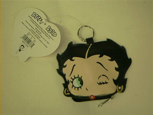 BETTY BOOP � Die Cut KEY CHAIN with ZIPPER CHANGE POCKET - PURSE  Black Vinyl
