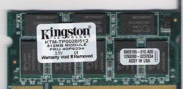Laptop Memory 512 MB Fits IBM FRU 40P6234 - Kingston KTP
