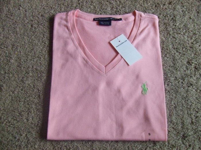 Ralph Lauren Polo women's resort pink V neck t-shirt size S