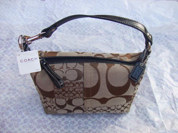 authentic Coach khaki signature soho patchwork pouch purse with black patent leather handle 41518