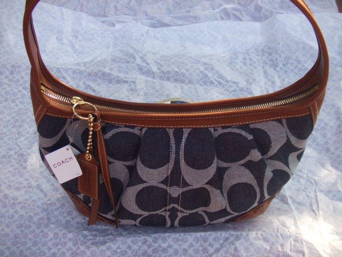 authentic COACH ergo signature denim pleated hobo handbag 12748