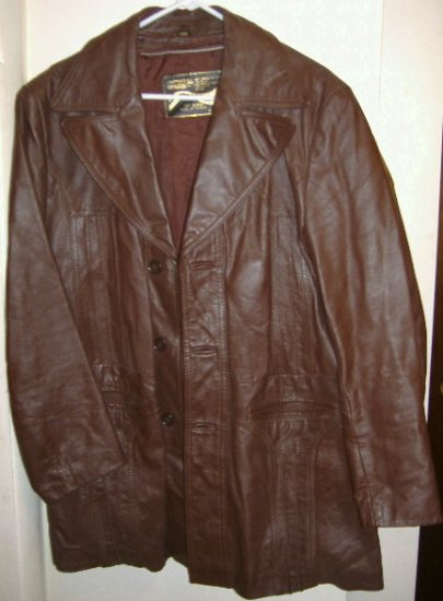 Men Jacket Leather Montgomery Ward Size 40R