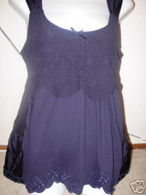 NWT $98 Anthropologie Little Yellow Button Blue Top M