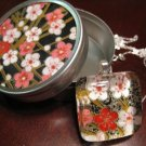 Handmade Japanese Glass Pendant Flowers w Matching Gift