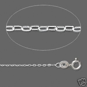 925 sterling silver chain, 1.4mm flat cable, 18 inch
