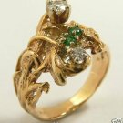 COLOMBIAN EMERALD & DIAMOND RING 14K YELLOW GOLD