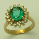2.10 CTS COLOMBIAN EMERALD OVAL & DIAMOND RING