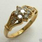 14K YELLOW GOLD DIAMOND FLOWER RING