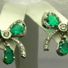 Colombian Emerald & Diamond Bow Earrings 6cts