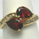 Stunner! Garnet & Diamond Gold Ring