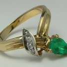 Vintage Colombian Emerald & Diamond Ring .80cts