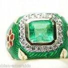 Custom! Emerald Diamond & Enamel Ring 3.0cts
