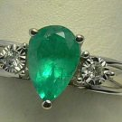 Natural Colombian Emerald & Diamond Ring White Gold 1ct