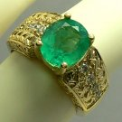 DAZZLING COLOMBIAN EMERALD 2.60 CTS & DIAMOND RING