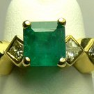Modern! Colombian Emerald & Diamond Ring 2.40tcw