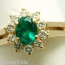 OVAL COLOMBIAN EMERALD& DIAMOND RING .80 CTS