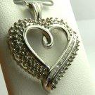 SPARKLING DIAMOND HEART PENDANT 14K WHITE GOLD 1CT