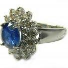 Impressive! Royal Blue Sapphire & Diamond Ring