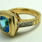 MAGNIFICENT BLUE TOPAZ & DIAMOND RING 2.30CTS