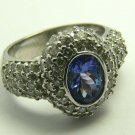 BRILLANT TANZANITE & PAVE DIAMOND RING 1.35CTS