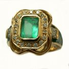 COLOMBIAN EMERALD & ENAMEL RING 2.01 CTS