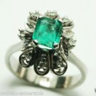 COLOMBIAN EMERALD & DIAMOND RING 18K WHITE GOLD 1 CT