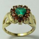 SPLENDID EMERALD & CITRINE RING .50CTS