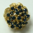 DECORATIVE BLUE SAPPHIRE & GOLD RING