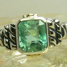 NEW! Artisan Collection~ Colombian Emerald Sterling Silver Diamond 14k Gold Ring