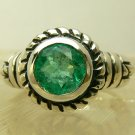 """NEWEST Collection! """"Artisan"""" Round Colombian Emerald & Sterling Silver Ring"""