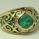 """ONE OF A KIND"" COLOMBIAN EMERALD ENAMEL & DIAMOND RING"