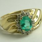 1.0tcw Lovely Colombian Emerald & Diamond Ring