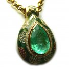 32 CT COLOMBIAN EMERALD & COLORED DIAMOND PENDANT