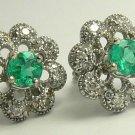 1.0tcw Floral Colombian Emerald & Dimaond Earrings