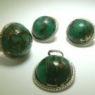 POLISHED COLOMBIAN EMERALD RING, EARRING, NECKLACE SET