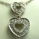 DAZZLING!! DOUBLE DIAMOND HEART NECKLACE