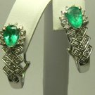 EYE POPPING COLOMBIAN EMERALD & DIAMOND EARRINGS 3.50CT