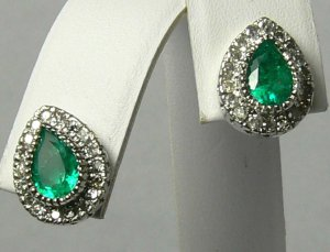 2.0cts Bewitching! Colombian Emerald & Diamond Earrings 14k