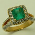 2.35 CT COLOMBIAN EMERALD MUZO MINE AND DIAMONDS RING