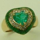 Stunner! Colombian Emerald Enamel & Diamond Ring 1.24ct
