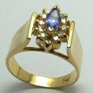 GLAMOROUS TANZANITE & DIAMOND RING
