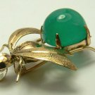 Endearing! Custom Created Colombian Emerald Cabochon Bee Brooch/Pendant