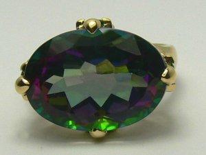 COLORFUL MYSTIC TOPAZ, PERIDOT & DIAMOND RING 12CTS