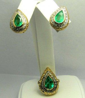 Custom Made Colombian Emerald & Diamond Earrings
