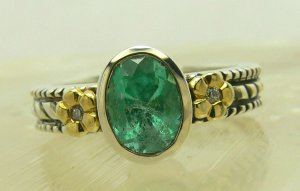 Artisan Collection! Oval Colombian Emerald in Sterling Silver & Diamond Ring