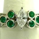 3.10tcw HeartMelting! Diamond Marquise & Colombian Emerald Engagement Ring 14k