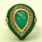 Fab! Colombian Emerald Enamel & Diamond Ring 3.20cts