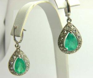 4.50tcw Dazzling! Colombian Emerald & Diamond Antique Inspired Dangle earrings